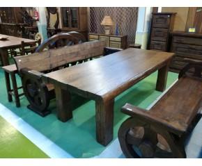 Mesa madera maciza castaño viejo