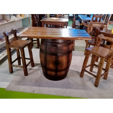 Mesa tonel con mueble bar