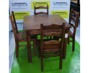 Conjunto mesa y cuatro sillas hosteleria