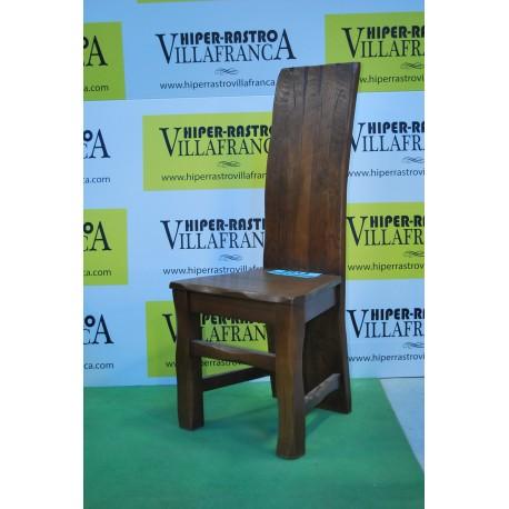 Silla madera castaño respaldo alto