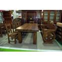 Mesa y dos escaños comedor en castaño viejo